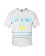 176 Lets Get Lit Funny Hanukkah Sweater Menorah Me Youth T-Shirt thumbnail