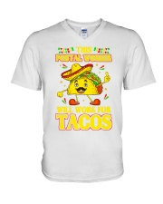 372This Postal Worker Will Work For Tacos V-Neck T-Shirt thumbnail