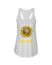 80Just A Girl Who Loves Sunflowers Funny Ladies Flowy Tank thumbnail