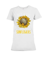 80Just A Girl Who Loves Sunflowers Funny Premium Fit Ladies Tee thumbnail