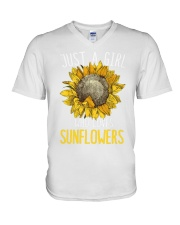 80Just A Girl Who Loves Sunflowers Funny V-Neck T-Shirt thumbnail