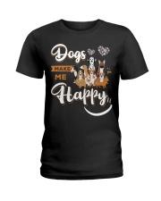 Dogs Make Me Happy Ladies T-Shirt thumbnail