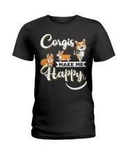 Corgis Make Me Happy Ladies T-Shirt thumbnail