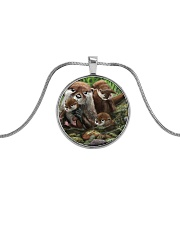 Family Otter Metallic Circle Necklace tile