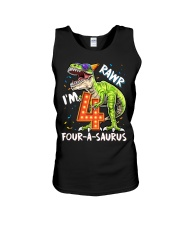 4 Birthday raw dinosaur Unisex Tank thumbnail