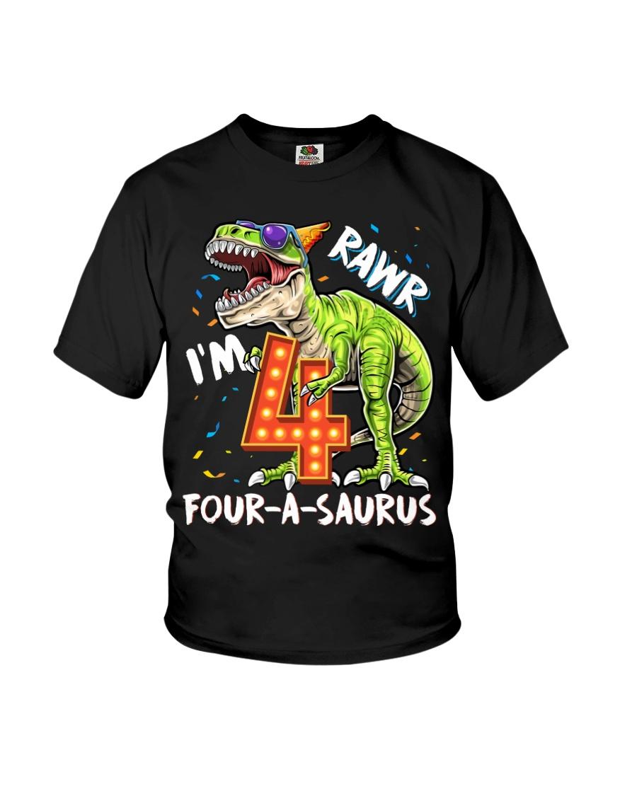 4 Birthday raw dinosaur Youth T-Shirt