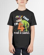 4 Birthday raw dinosaur Youth T-Shirt garment-youth-tshirt-front-01