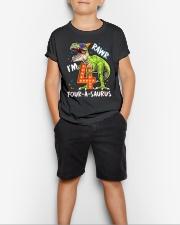 4 Birthday raw dinosaur Youth T-Shirt lifestyle-youth-tshirt-front-1