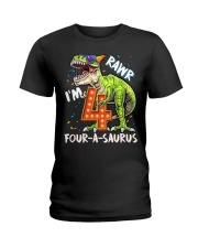 4 Birthday raw dinosaur Ladies T-Shirt thumbnail
