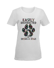 Skiing Easily distracted Ladies T-Shirt women-premium-crewneck-shirt-front