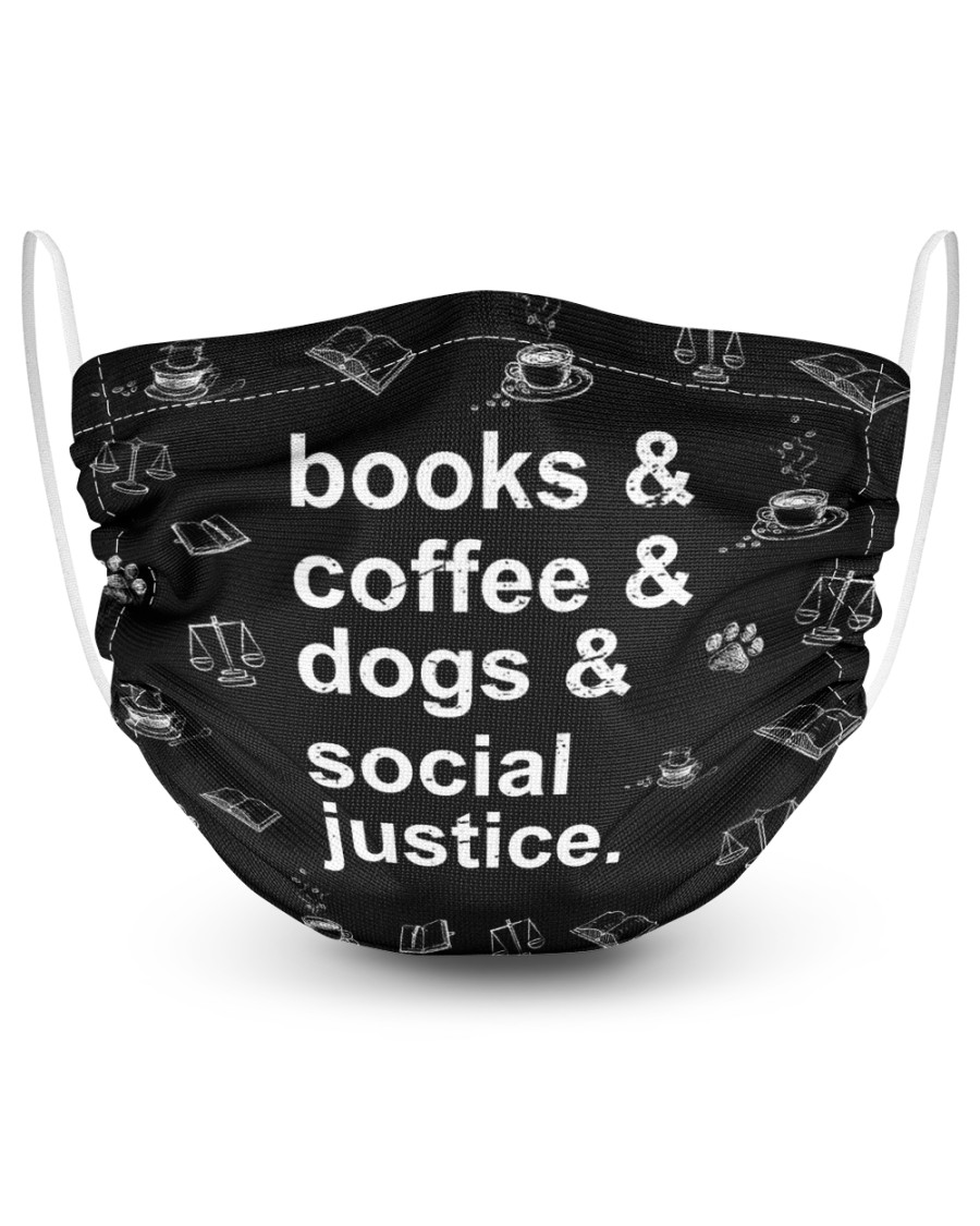 Books coffee dogs justice 2 Layer Face Mask - Single