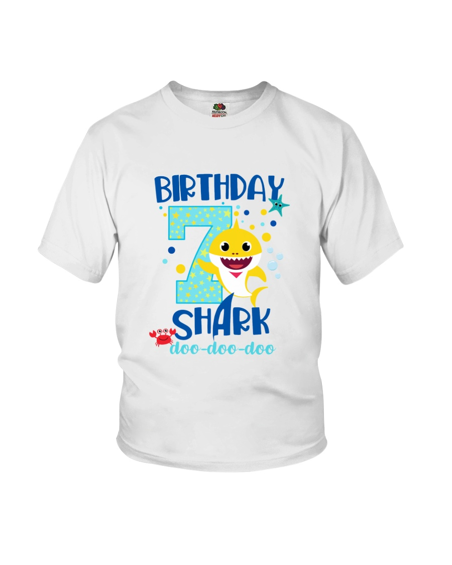7 Blue Birthday Shark-1 Youth T-Shirt