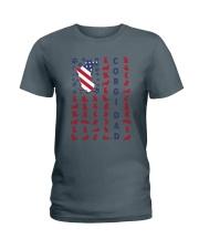 Corgi Dad US flag Ladies T-Shirt thumbnail
