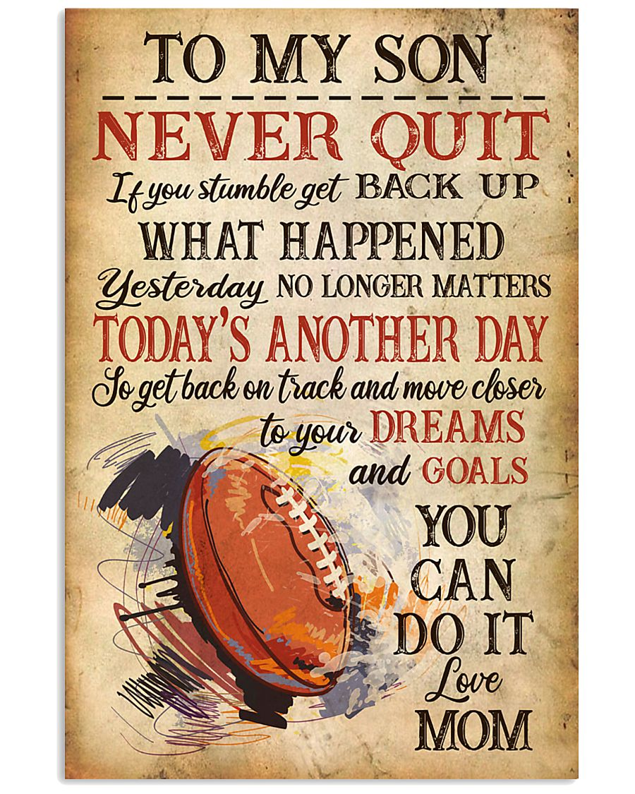 Rugby Never Quilt To My Son Mom 11x17 Poster