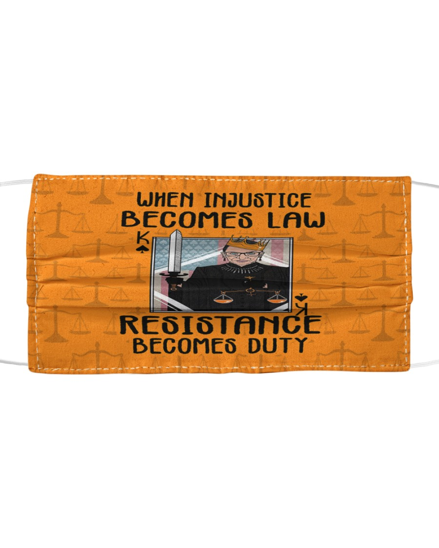 RBG when injustice K card Cloth face mask
