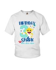 3 Blue Birthday Shark Youth T-Shirt front