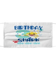 3 Blue Birthday Shark Cloth face mask thumbnail