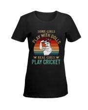 Cricket Real Girls Play Ladies T-Shirt women-premium-crewneck-shirt-front