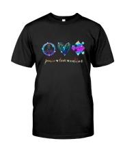 Autism Peace Hippie Love Classic T-Shirt front