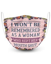 I wont be remembered floral 2 Layer Face Mask - Single front