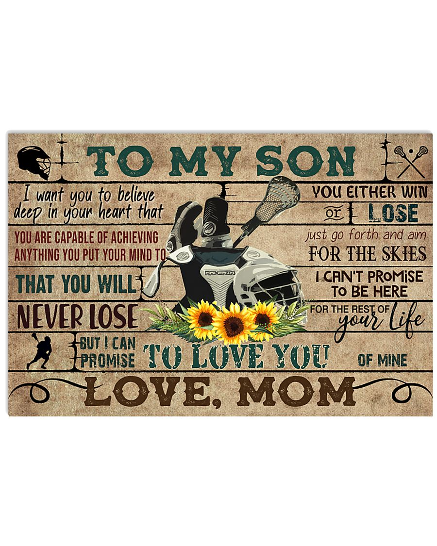 Lacrosse To My Son Mom Sunflower 17x11 Poster