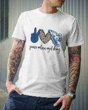 Jet Skiing Leopard pattern Peace Love Classic T-Shirt lifestyle-mens-crewneck-front-6