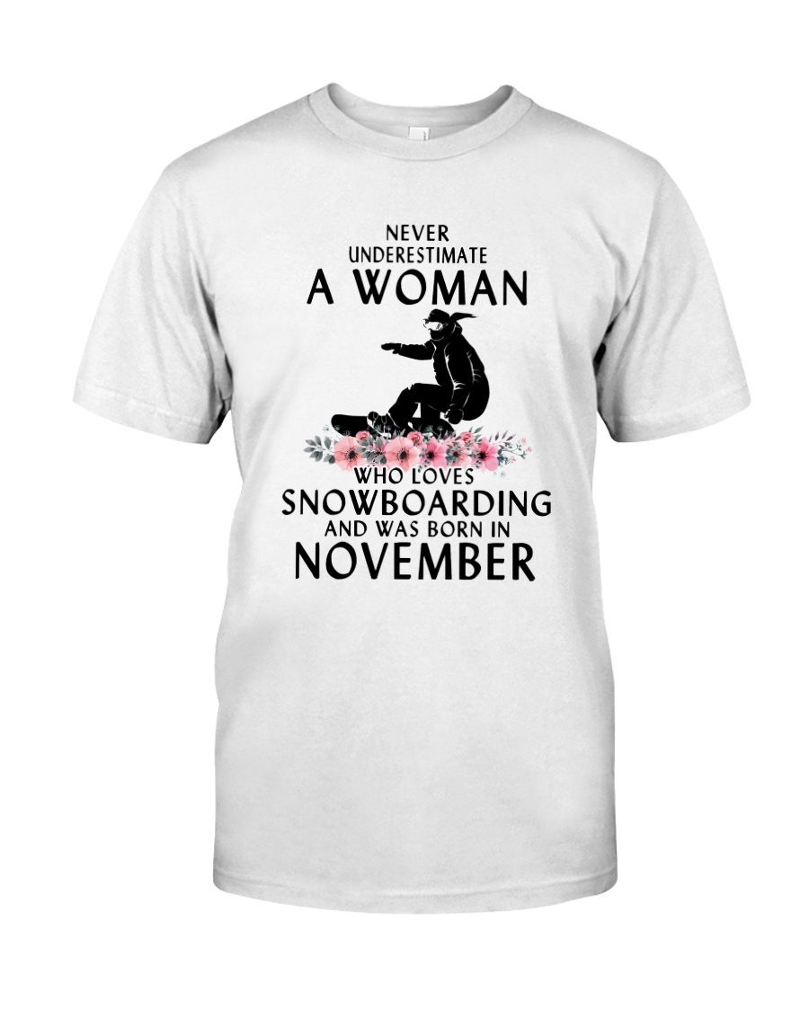Snowboarding November Woman Love Classic T-Shirt