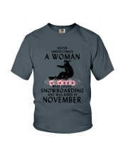 Snowboarding November Woman Love Youth T-Shirt thumbnail