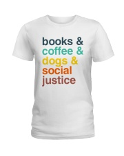 Books coffee dogs justice pattern Ladies T-Shirt thumbnail