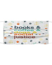 Books coffee dogs justice pattern Cloth face mask front
