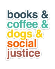 Books coffee dogs justice pattern Sticker - Single (Vertical) thumbnail
