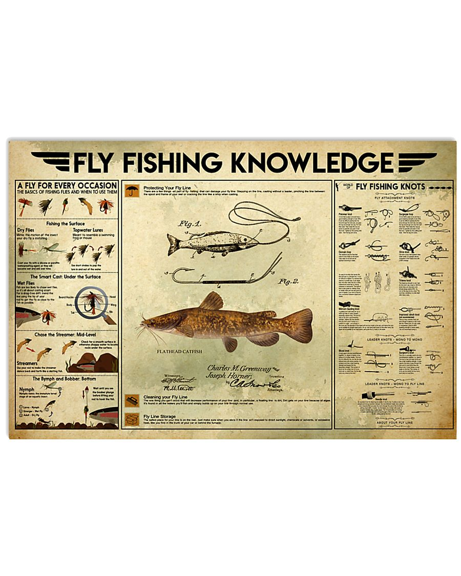 Fly fishing lure catfish knowledge 17x11 Poster