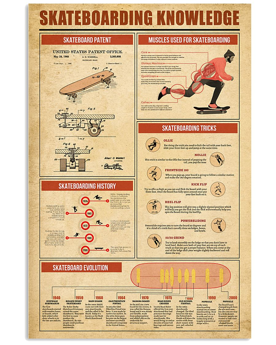 Skateboarding Knowledge 11x17 Poster