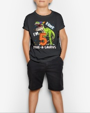 5 Birthday raw dinosaur Youth T-Shirt lifestyle-youth-tshirt-front-1