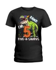 5 Birthday raw dinosaur Ladies T-Shirt thumbnail