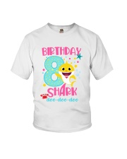 8 Pink Birthday Shark Youth T-Shirt front