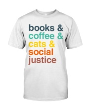 Books coffee cats justice pattern Classic T-Shirt thumbnail