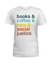 Books coffee cats justice pattern Ladies T-Shirt thumbnail
