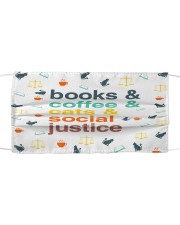 Books coffee cats justice pattern Cloth face mask front