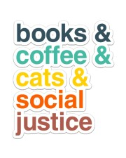 Books coffee cats justice pattern Sticker - Single (Vertical) thumbnail