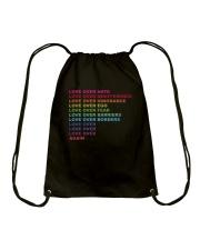 Love over hate Drawstring Bag thumbnail