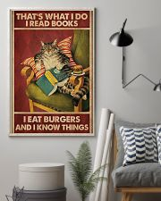Cat Reads Books And Eat Burgers Poster 11x17 Poster lifestyle-poster-1