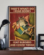 Cat Reads Books And Eat Burgers Poster 11x17 Poster lifestyle-poster-2