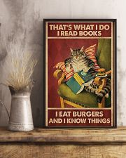 Cat Reads Books And Eat Burgers Poster 11x17 Poster lifestyle-poster-3
