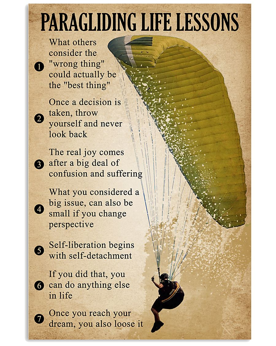 Paragliding Life Lessons 11x17 Poster