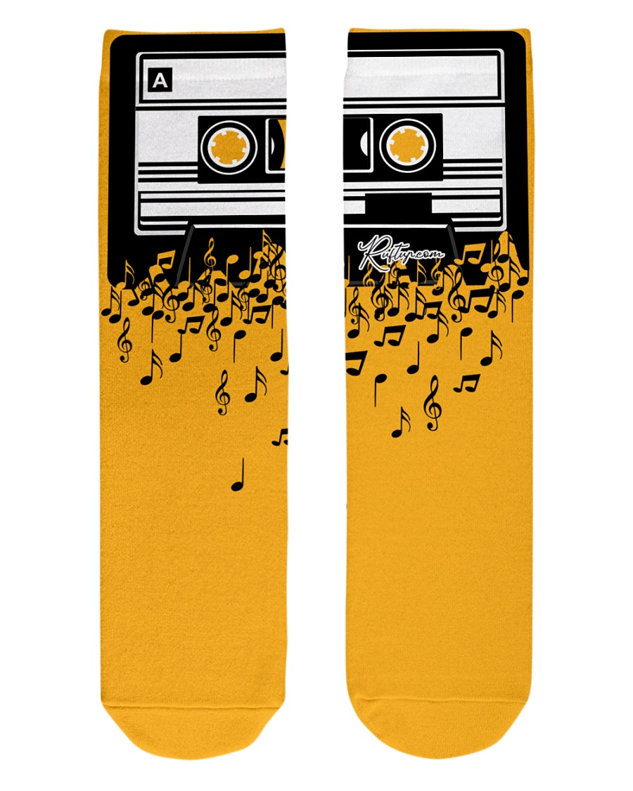 Retro Cool Audio Cassettes Bright Colours Edition Crew Length Socks