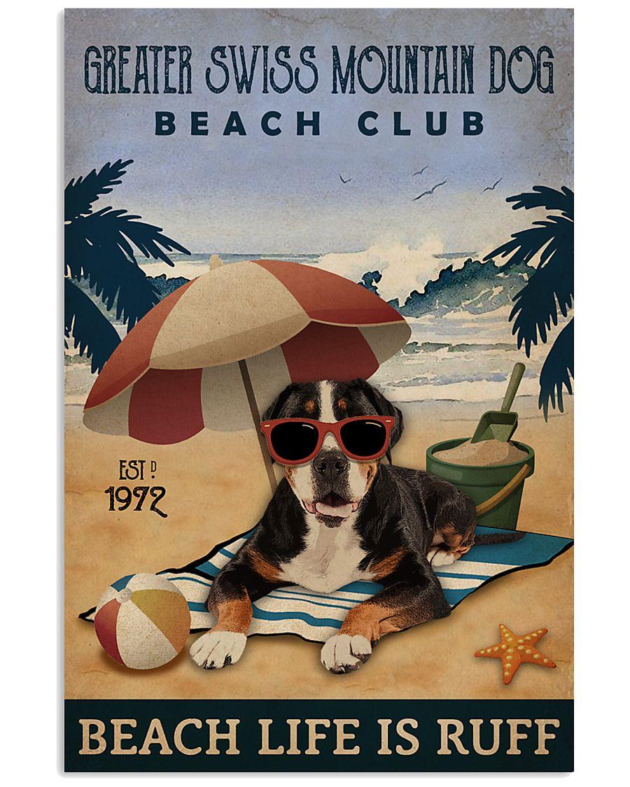 Vintage Beach Club Ruff Greater Swiss Mountain Dog 11x17 Poster