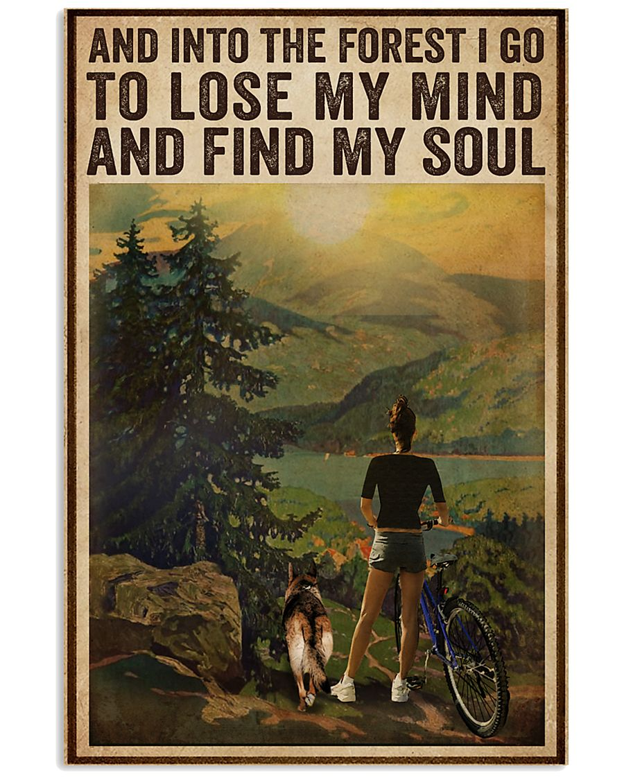 Vintage And Into The Forest Cycling Dogs Girl 16x24 Poster