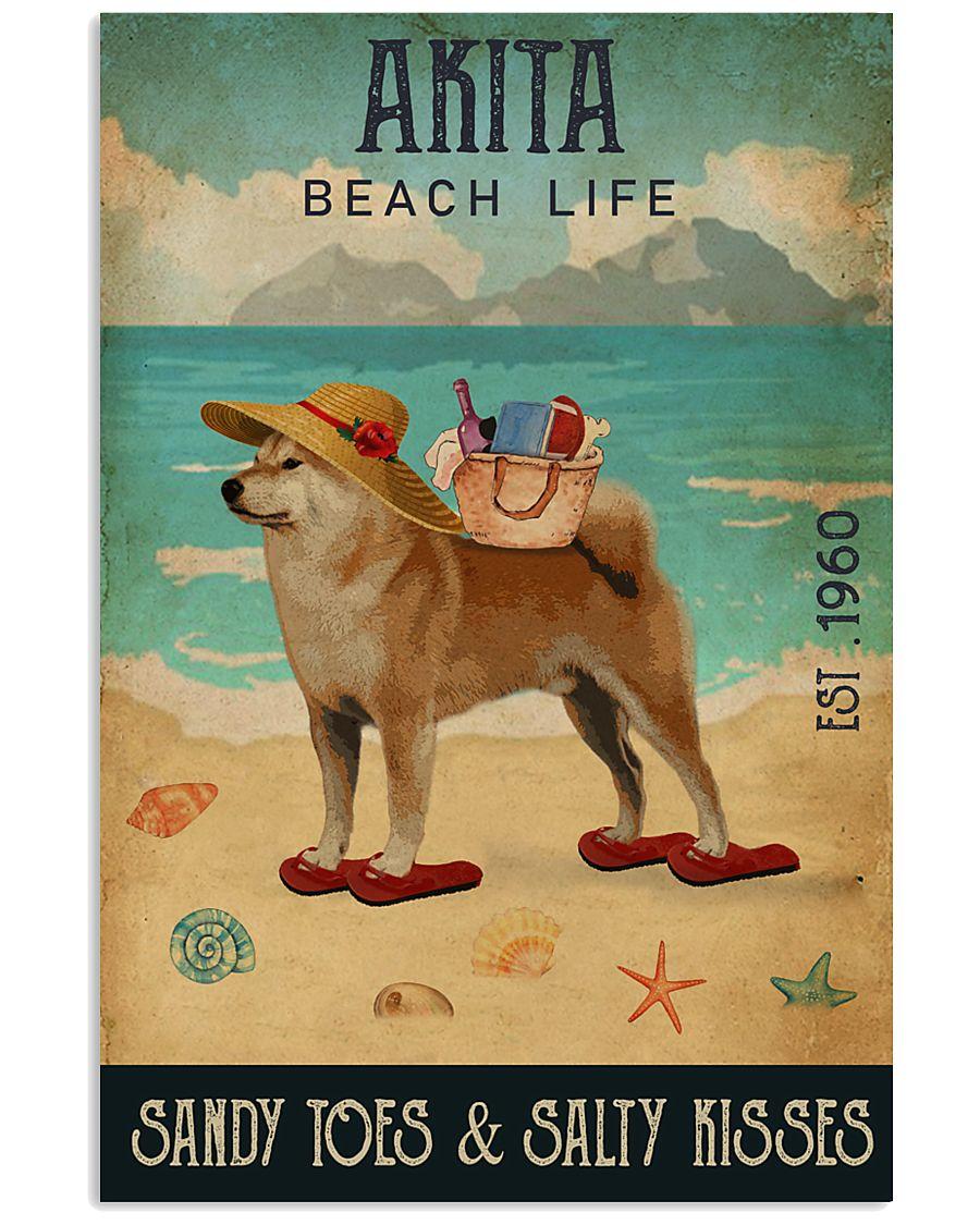 Beach Life Sandy Toes Akita 11x17 Poster