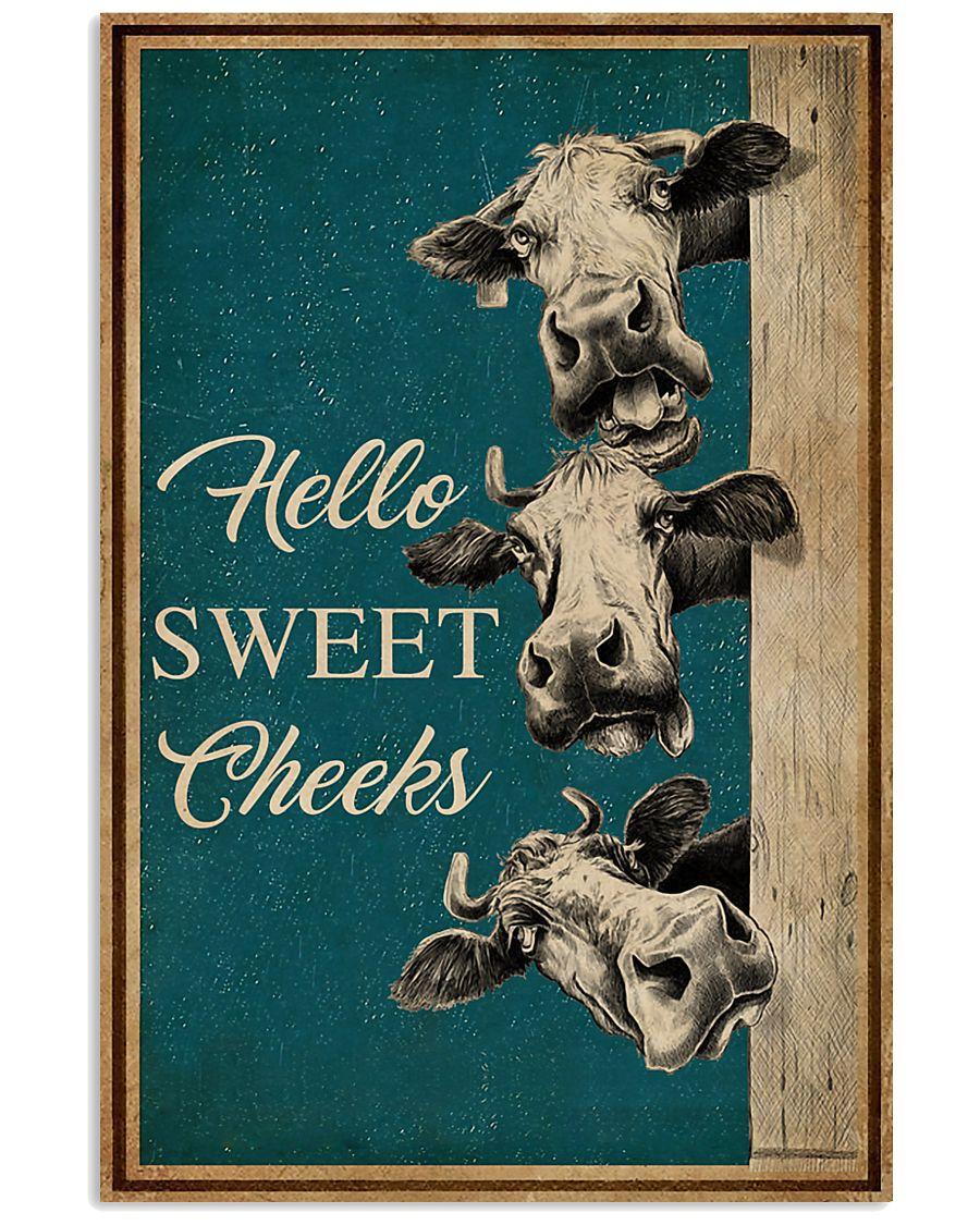 Retro Hello Sweet Cheeks Cow 16x24 Poster